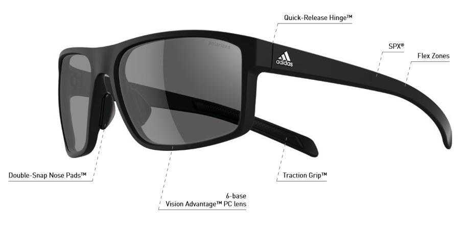4b99756c5e Adidas A423 Whipstart Sunglasses - Black silver Lens